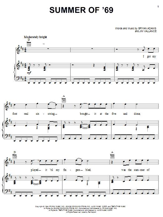 Bryan Adams Summer Of '69 sheet music notes printable PDF score