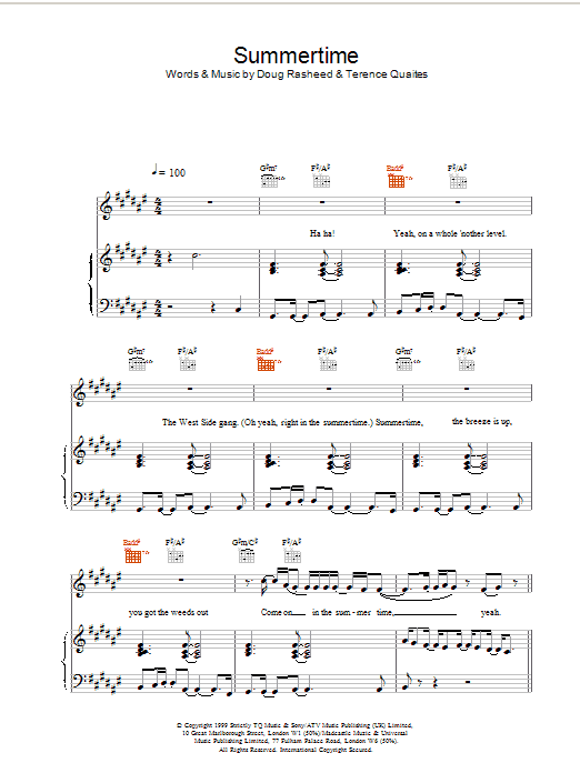 Another Level Summertime sheet music notes printable PDF score