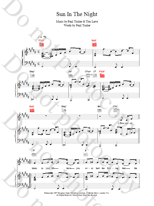 The Lighthouse Family Sun In The Night sheet music notes printable PDF score