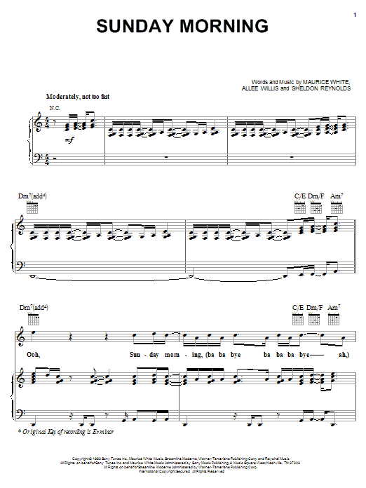 Earth, Wind & Fire Sunday Morning sheet music notes printable PDF score
