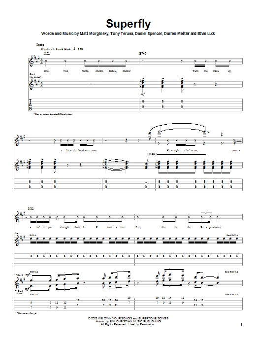 The O.C. Supertones Superfly sheet music notes printable PDF score