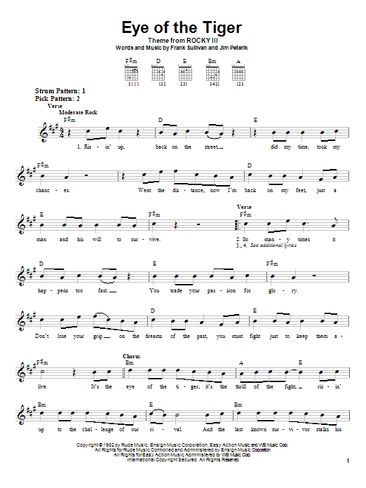 Survivor Eye Of The Tiger sheet music notes and chords. Download Printable PDF.