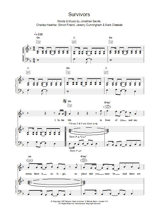 The Levellers Survivors sheet music notes printable PDF score