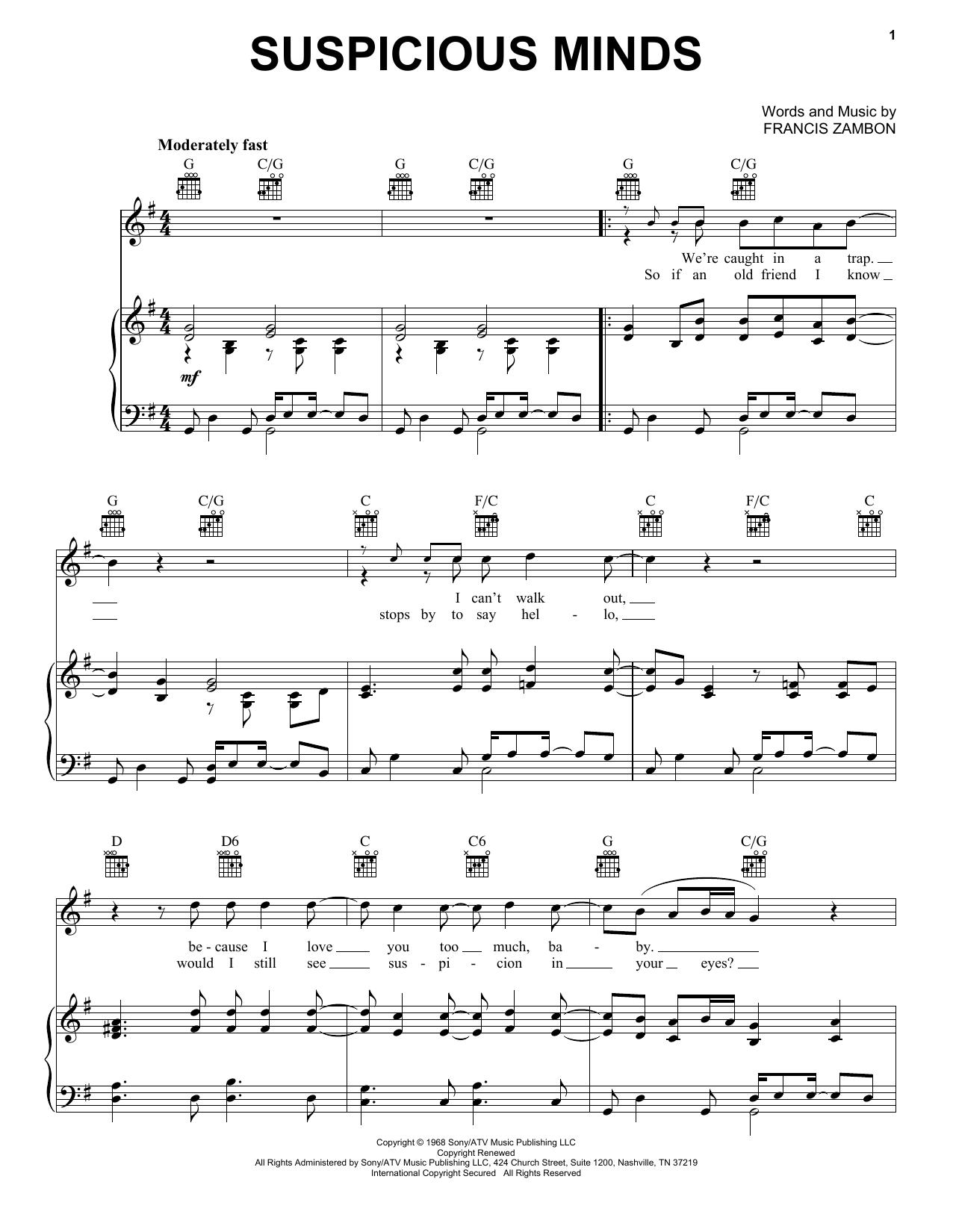 Elvis Presley Suspicious Minds sheet music notes printable PDF score