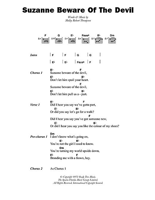 Dandy Livingstone Suzanne Beware Of The Devil sheet music notes printable PDF score