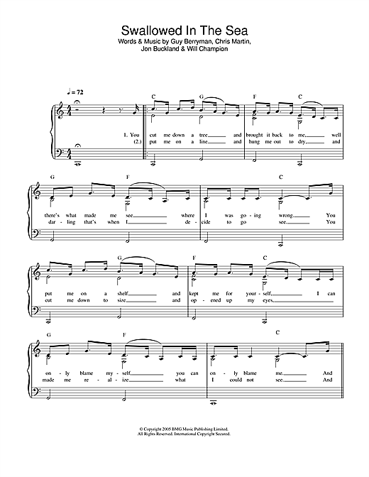 Coldplay Swallowed In The Sea sheet music notes printable PDF score