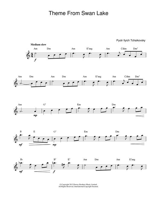 Pyotr Ilyich Tchaikovsky Swan Lake sheet music notes printable PDF score