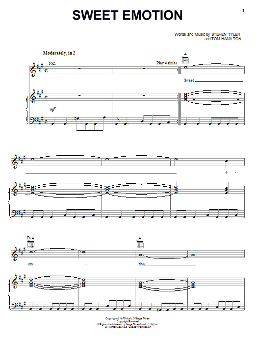 Aerosmith Sweet Emotion sheet music notes printable PDF score