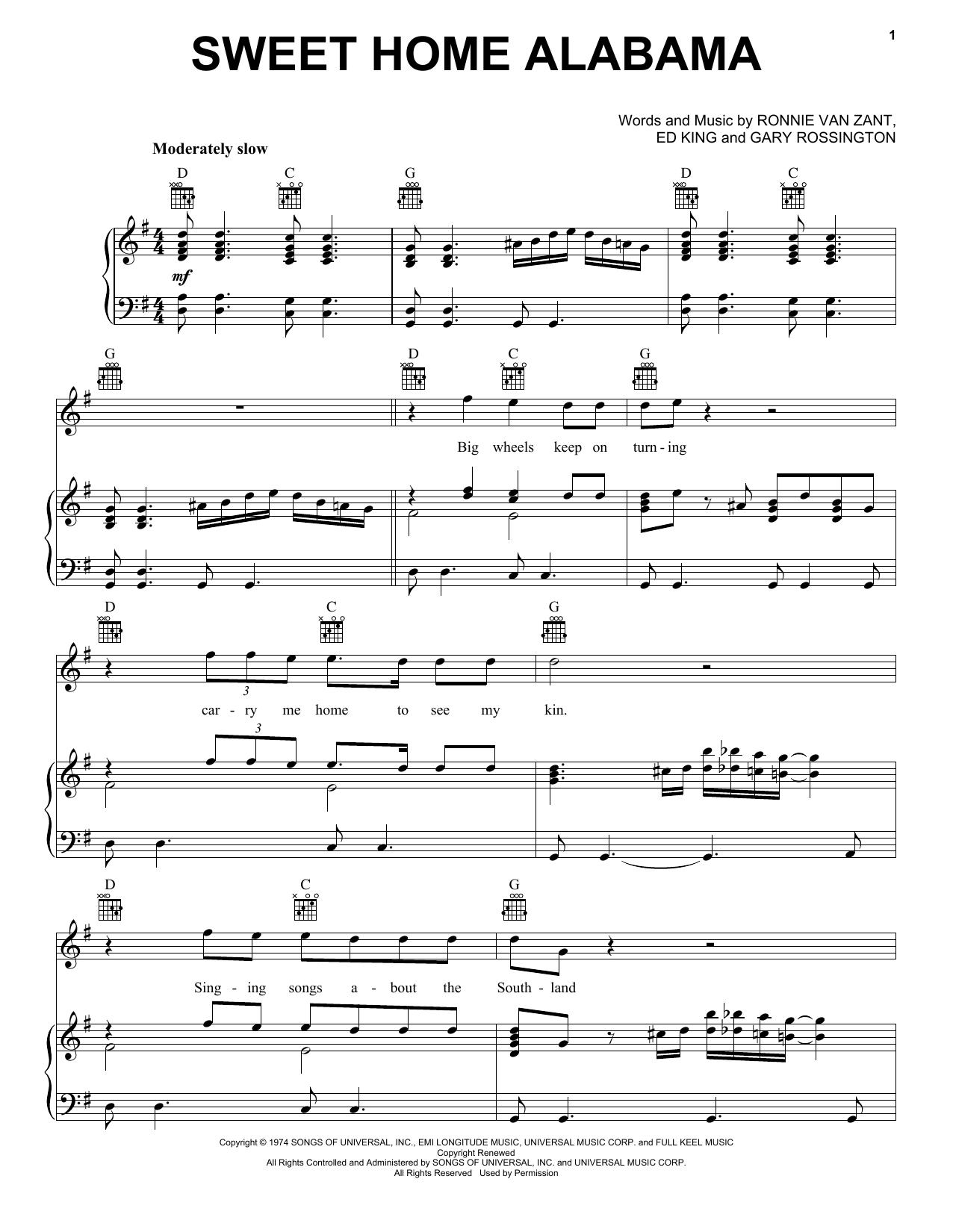Lynyrd Skynyrd Sweet Home Alabama sheet music notes printable PDF score
