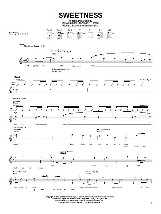 Jimmy Eat World Sweetness sheet music notes printable PDF score