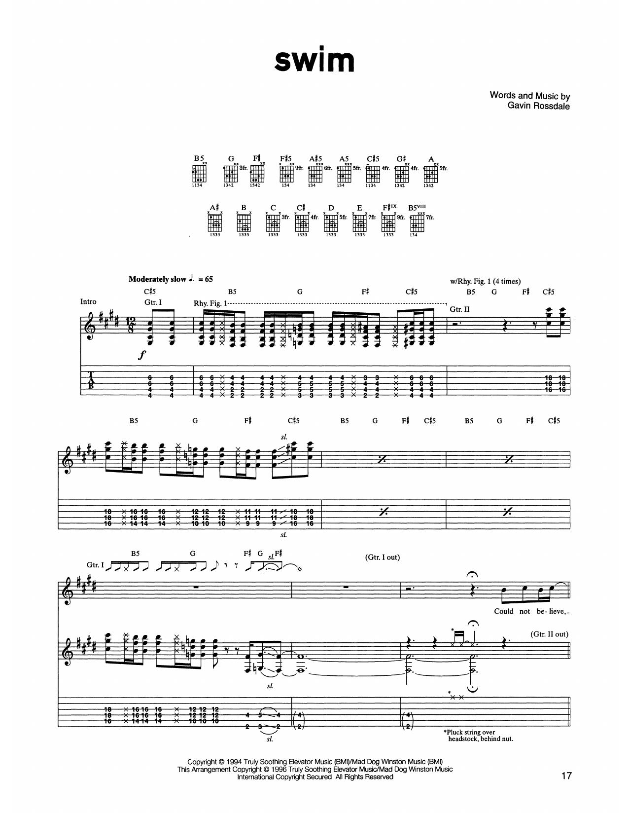 Bush Swim sheet music notes printable PDF score