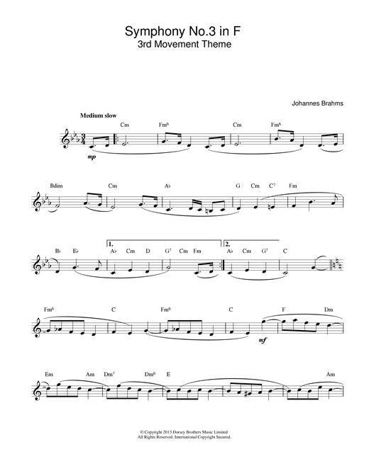 Johannes Brahms Symphony No 3 In F sheet music notes printable PDF score