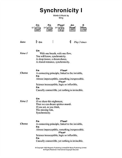 The Police Synchronicity I sheet music notes printable PDF score
