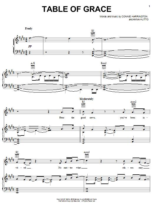 Phillips, Craig & Dean Table Of Grace sheet music notes printable PDF score