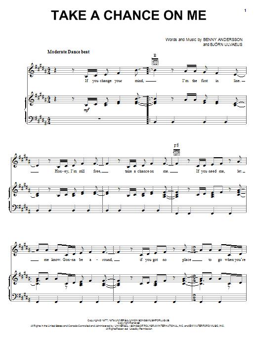 ABBA Take A Chance On Me sheet music notes printable PDF score