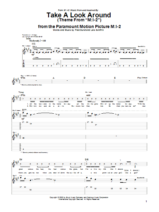 Limp Bizkit Take A Look Around (theme from Mission Impossible 2) sheet music notes printable PDF score
