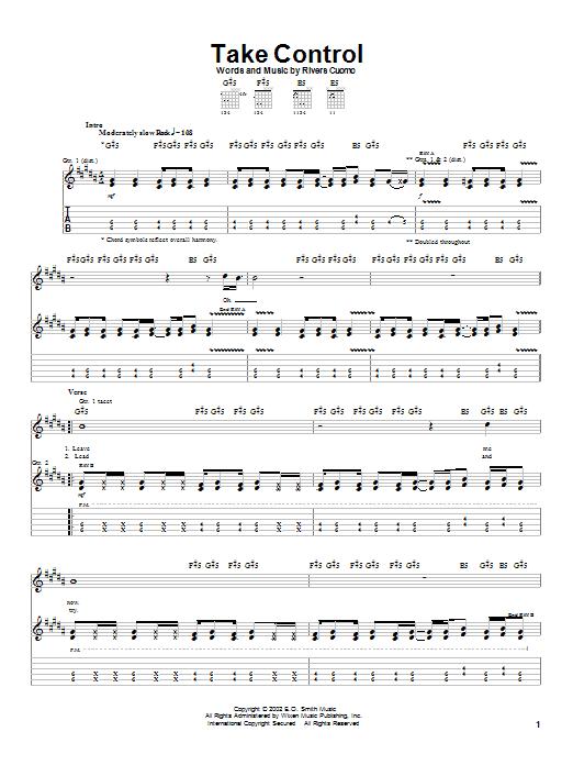 Weezer Take Control sheet music notes printable PDF score