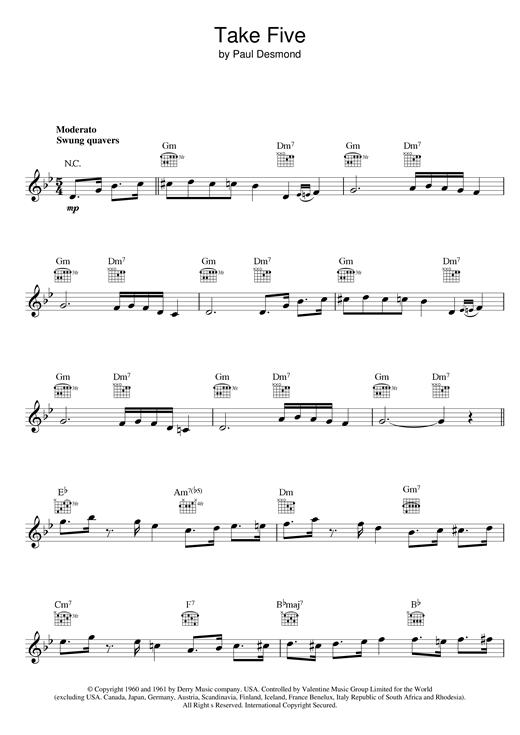 Dave Brubeck Take Five sheet music notes printable PDF score