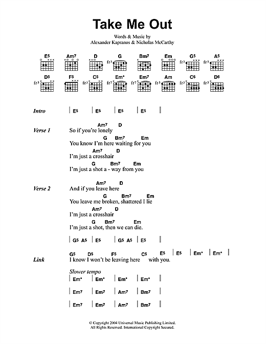 Franz Ferdinand Take Me Out sheet music notes printable PDF score