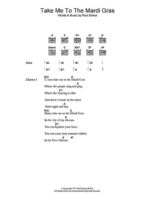 Paul Simon Take Me To The Mardi Gras sheet music notes printable PDF score