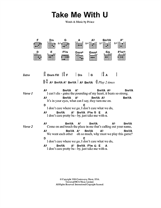 Prince Take Me With U sheet music notes printable PDF score