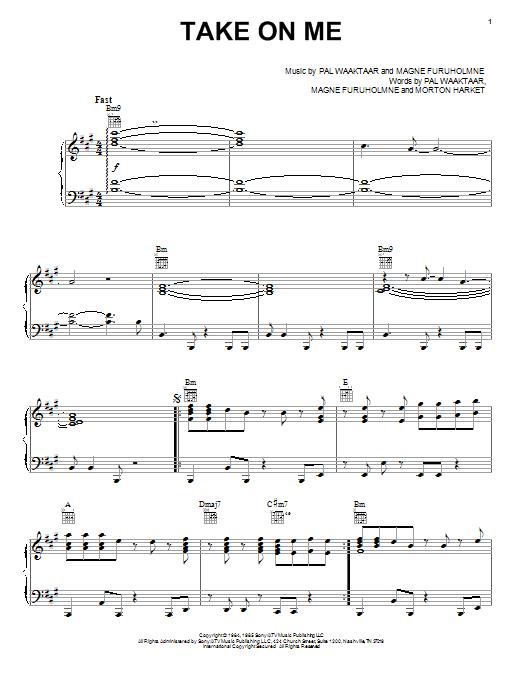 A-Ha Take On Me sheet music notes printable PDF score