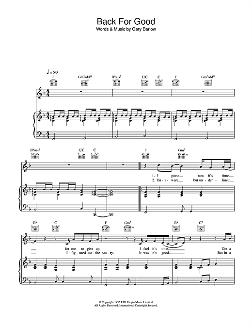 Take That Back For Good sheet music notes and chords - download printable PDF.