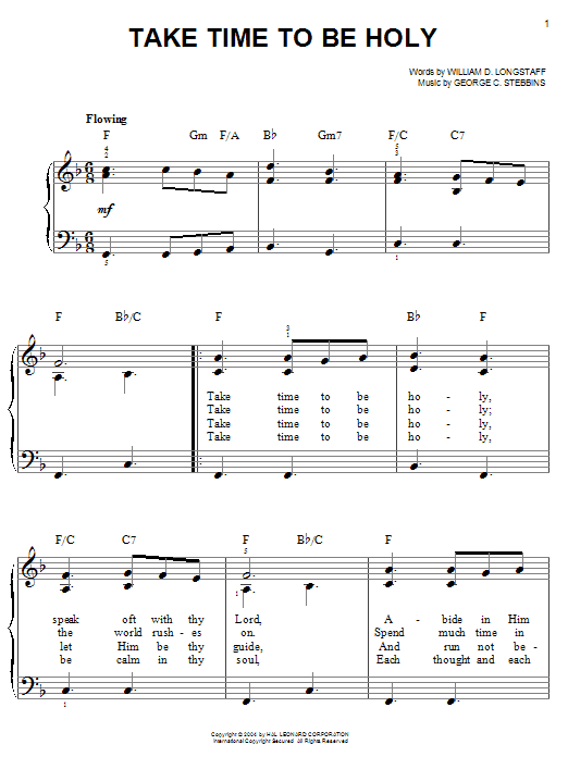 William D. Longstaff Take Time To Be Holy sheet music notes printable PDF score