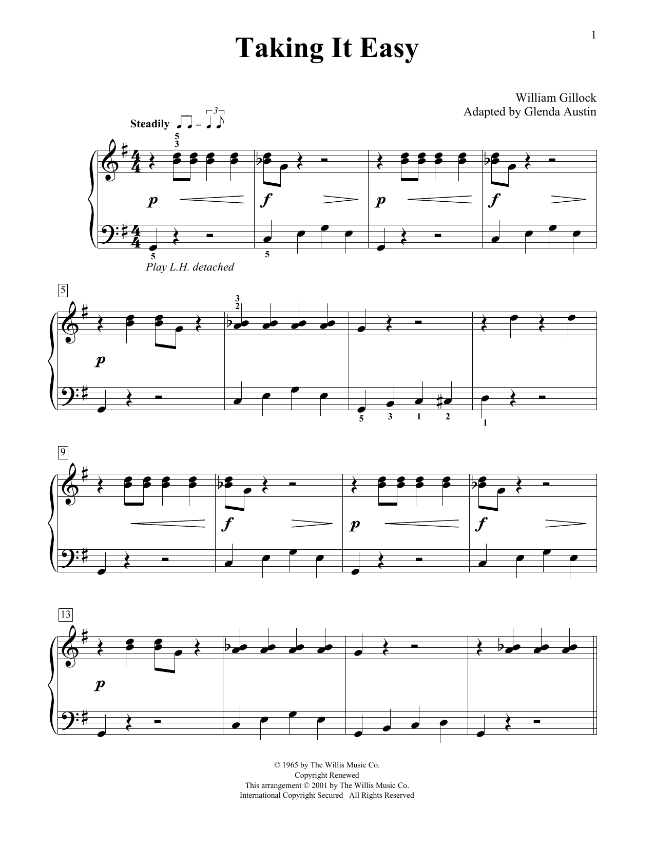 William Gillock Taking It Easy (Simplified) (adapted by Glenda Austin) sheet music notes printable PDF score