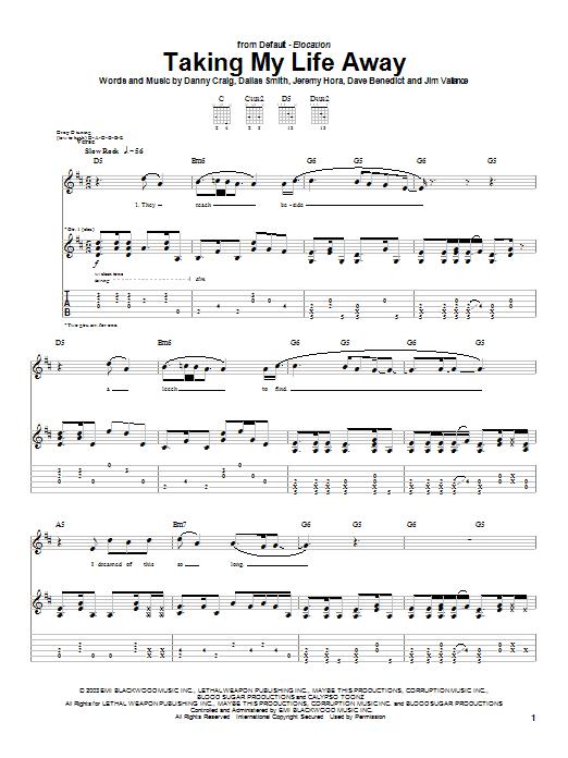 Default Taking My Life Away sheet music notes printable PDF score