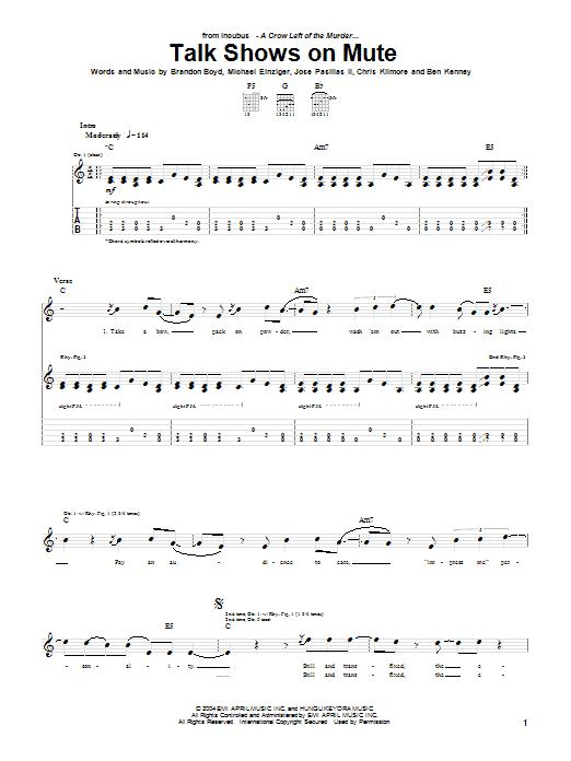 Incubus Talk Shows On Mute sheet music notes printable PDF score