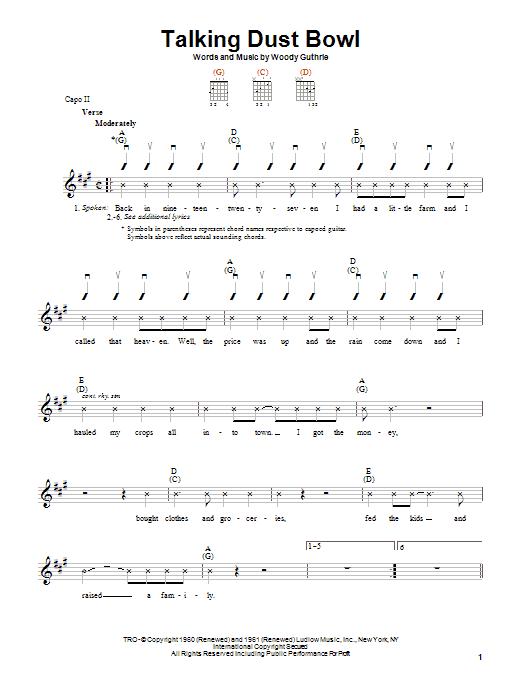 Woody Guthrie Talking Dust Bowl sheet music notes printable PDF score