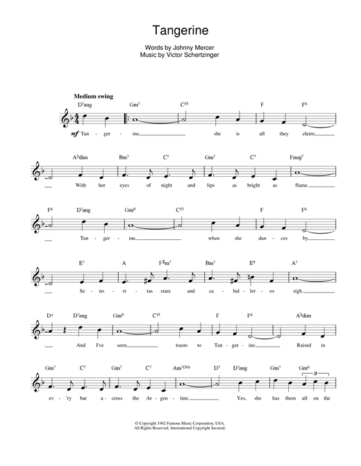 Victor Schertzinger Tangerine sheet music notes printable PDF score