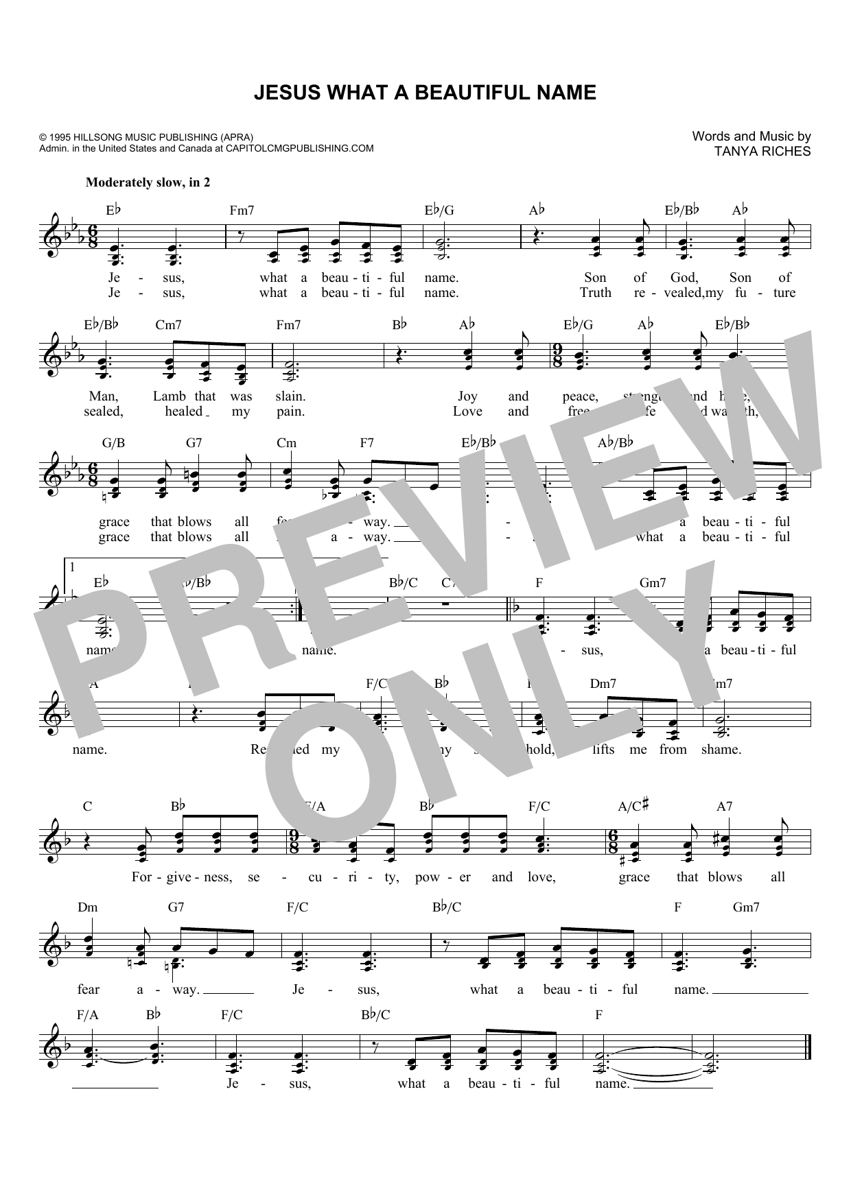 Tanya Riches Jesus What A Beautiful Name sheet music notes and chords. Download Printable PDF.