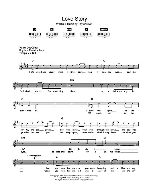 Taylor Swift Love Story sheet music notes and chords. Download Printable PDF.