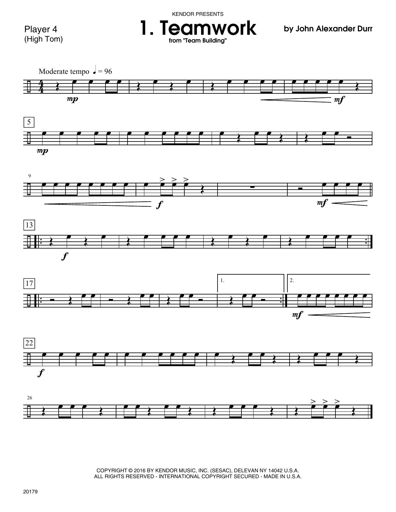 John Alexander Durr Team Building (10 grade 1-2+ Ensembles) - Percussion 4 sheet music notes printable PDF score