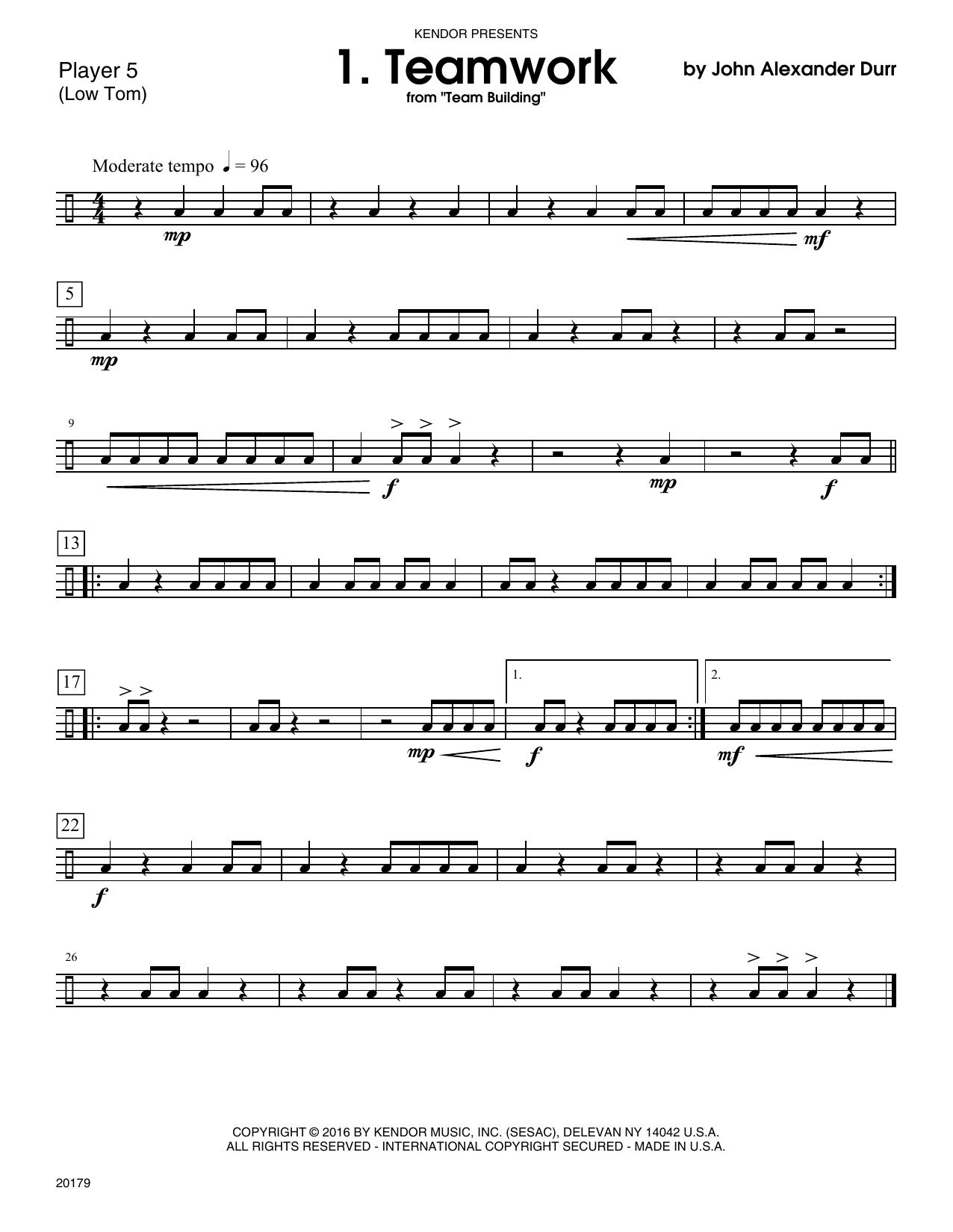 John Alexander Durr Team Building (10 grade 1-2+ Ensembles) - Percussion 5 sheet music notes printable PDF score