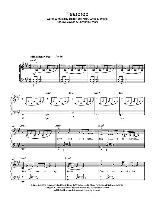 Massive Attack Teardrop sheet music notes printable PDF score