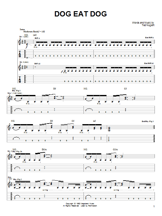 Ted Nugent Dog Eat Dog sheet music notes and chords. Download Printable PDF.