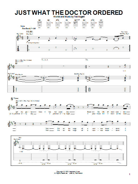 Ted Nugent Just What The Doctor Ordered sheet music notes and chords. Download Printable PDF.