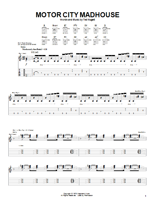 Ted Nugent Motor City Madhouse sheet music notes and chords. Download Printable PDF.