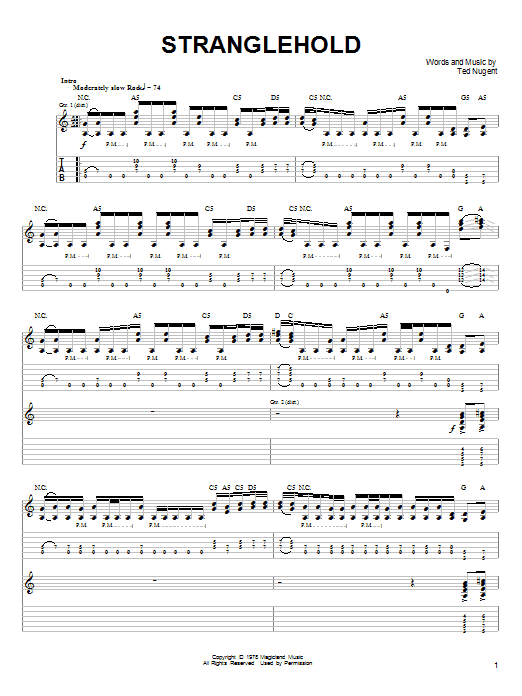 Ted Nugent Stranglehold sheet music notes and chords. Download Printable PDF.