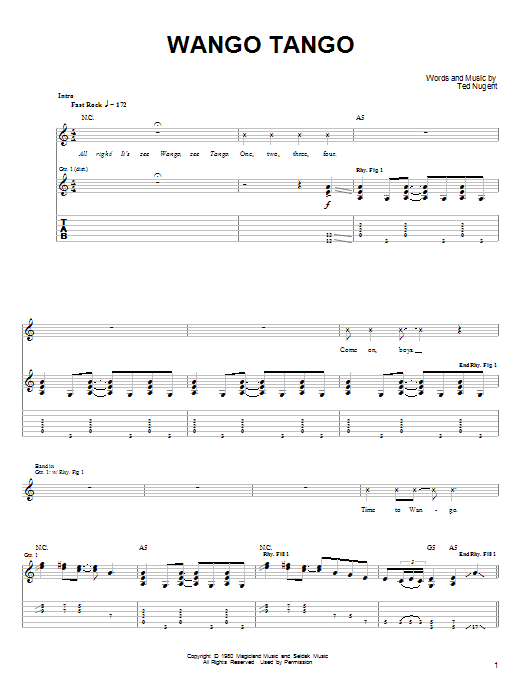 Ted Nugent Wango Tango sheet music notes and chords. Download Printable PDF.