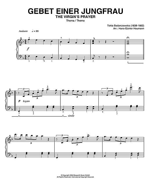Tekla Badarczewska The Virgin's Prayer (Theme) sheet music notes printable PDF score