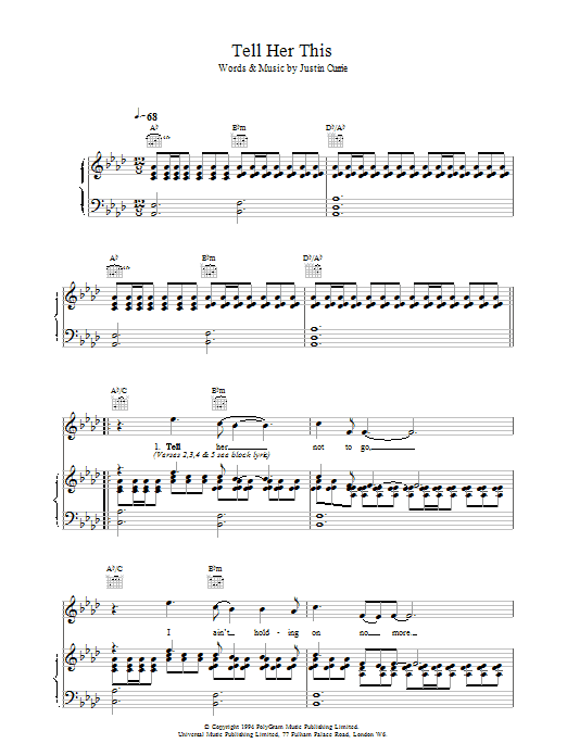 Del Amitri Tell Her This sheet music notes printable PDF score