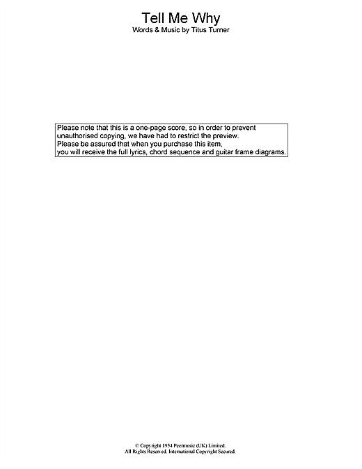 Elvis Presley Tell Me Why sheet music notes printable PDF score