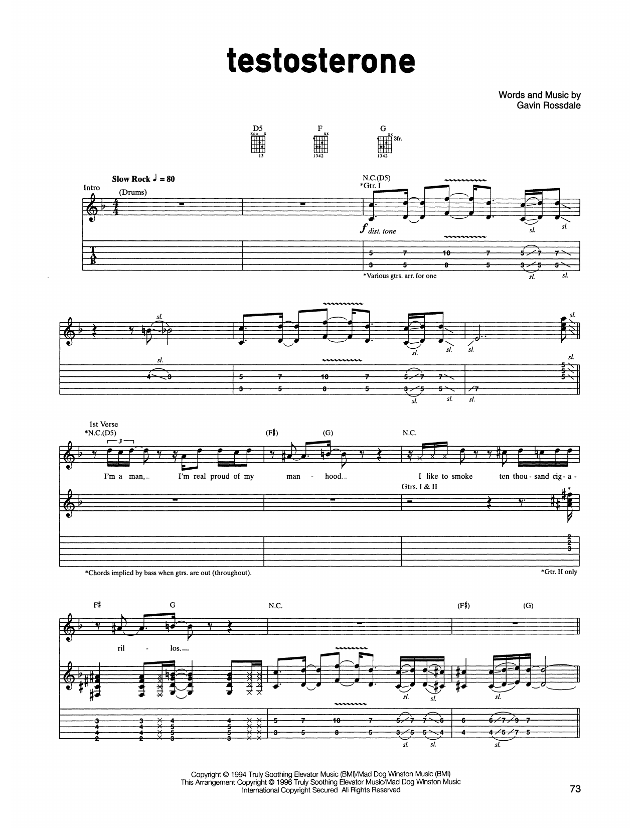 Bush Testosterone sheet music notes printable PDF score