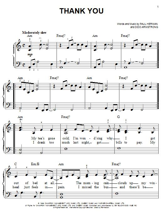 Dido Thank You sheet music notes printable PDF score