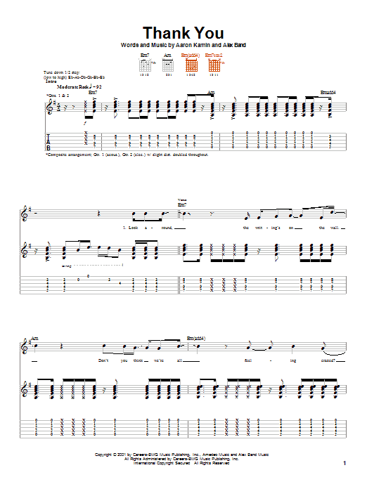 The Calling Thank You sheet music notes printable PDF score