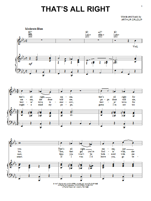 Elvis Presley That's All Right sheet music notes printable PDF score